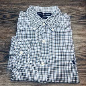 Polo Ralph Lauren White, Blue & Navy Plaid Shirt L